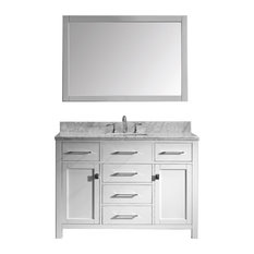 48-inch Single Bath Vanity In WhiteMarble TopSquare SinkFaucetMirror