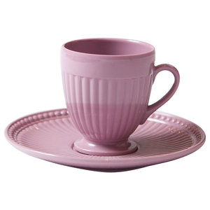 Shatterproof Coffee Cups With Saucers, Set of 2, Pink