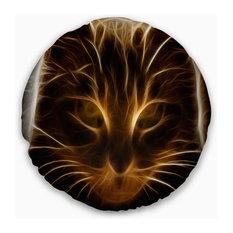 "Glowing Fractal Cat Illustration Animal Throw Pillow, 20"" Round"