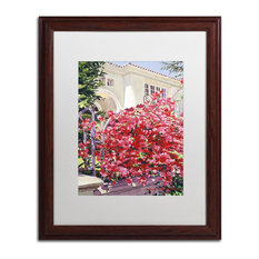 "Glover 'Pink Bougainvillea Mansion' Art, Wood Frame, 16""x20"", White Matte"
