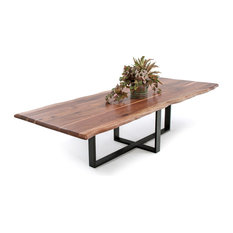 Woodland Creek Furniture   Contemporary Live Edge Dining Table Black Walnut  72x48x31   Dining Tables