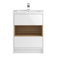 Freestanding Bathroom Vanity Unit and Sink, Gloss White and Cocobolo, 61 Cm