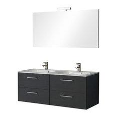 Boston Double Bathroom Vanity Unit, Black, 120 cm