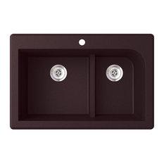 "Swan Granite Low Divide Double Bowl Kitchen Sink 33""x22"", Espresso"