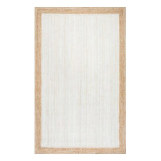 Jute Simple Border Area Rug, White, 8'x10'