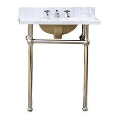 Bath Console Sink Deco Vanity Chrome Legs, White Carrara Marble