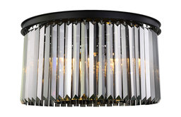 Crystal Prysm 8-Light Flush Mount, Gray Iron, Smoke, Standard