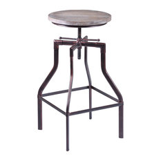 Concord Adjustable Swivel Bar Stool, Pine Wood, Industrial Copper