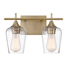 Octave 2-Light Vanity Fixture, Warm Brass, 2-Light