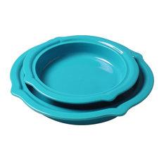 Chantal Sky Blue Talavera 2 Piece Pie Dish Set