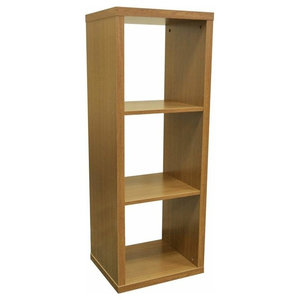 Modern Display Storage Unit, Oak Finished Particle Board With 3-Compartment