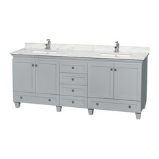 "Acclaim 80"" Double Vanity, Oyster Gray, White Carrera Marble Top, Square Sinks"