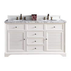 "Savannah 60"" Cottage White Double Vanity 4CM Carrara White Marble Top"