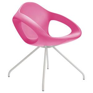 Easer Modern Armchair, Pink, White Frame