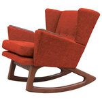 Lewis Interiors - Mid Century Modern Handcrafted Rocking Chair Wingback Rocker Rust Orange - A twist on one of our most popular mid century modern chairs, our Short Back Rocker (SBR) chair is absolutely fabulous in every way!  Featuring a low back club style mid century inspired design, this designer rocking chair is a showcase piece for any collection, and will be the centerpiece in any room of your home. This is NOT your grandmother's rocking chair!  With Lewis Interiors behind you, you can finally move beyond mass produced mid century modern chairs by opting instead for your own handcrafted piece of modern retro Americana. In this regard, our SBR chair is as unique and timeless as you are!