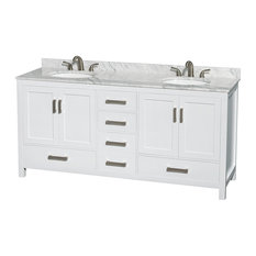 "Sheffield 72"" White Double Vanity, Carrera Marble Top and Undermount Oval Sink"