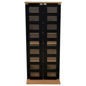 Modern Storage Cabinet in Beech Finished MDF with 2 Black Tempered Glass Doors