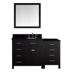 """Caroline Parkway 57"""" Vanity, Without Faucet, Round, Left"""