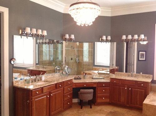 Exceptionnel I Just Added A Gorgeous Robert Abbey Bling Chandelier To My Master Bath.  Now The Light Fixtures Over The Vanities Look Old And Dated.