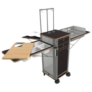 Live Moving Kitchen, Charcoal Grill With 4 Wheels, Dark Brown