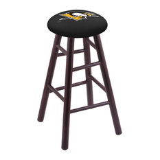 Maple Counter Stool Dark Cherry Finish With Pittsburgh Penguins Seat 24-inch