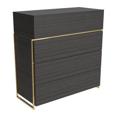 Federico 4-Drawer Chest, Black Stained Oak, Brass Accent