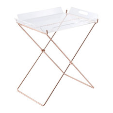 Tray Table, Acrylic, Metal, Clear Acrylic, Copper