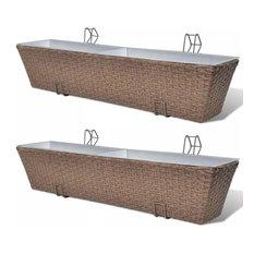 "vidaXL 2x Balcony Trapezoid Planter Poly Rattan 30"" Brown Patio Flower Boxes"
