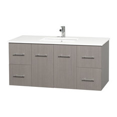 "Centra 48"" Vanity, Square Sink, Gray Oak, Top White Man-Made Stone"