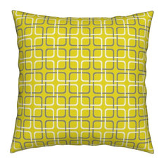 Squircle Lock Pewter And White On Galante Yellow, Mod Throw Pillow, Linen Cotton