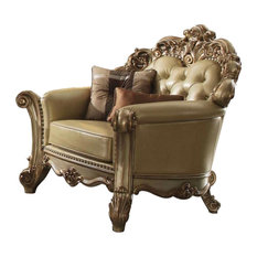 Crown Top Chair With Throw Pillow And Oversized Scrolled Trim Legs Gold