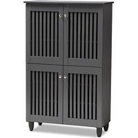 Fernanda 4-Door Wooden Shoe Storage Cabinet, Dark Gray