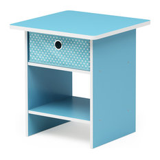 End Table/Night Stand Storage Shelf-Light Blue/Light Blue