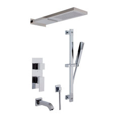 Aquamoon Cubic Ceramic Single Lever Bath-Shower Rough-In With Shower Bar, Chrome