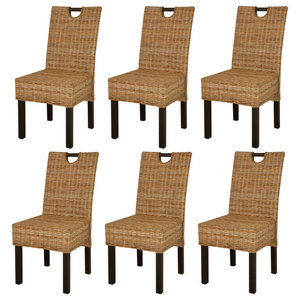 VidaXL Dining Chairs, Kubu Rattan Mango Wood, Set of 6