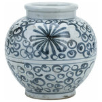 Legends of Asia - Blue and White Small Sea Flower Jar - This elegant sea flower jar is handcrafted to inspire your love for asian decor. Perfect for decorating on mantles or consoles.