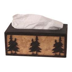 Iron Double Pine Tree Rectangular Tissue Box Cover