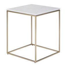 Kline Modern Industrial 18-inch Metal Accent Side Table White Gold