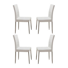 pilaster designs parson chairs with chrome legs set of 4 white dining