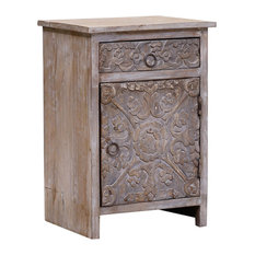 Dufur Reclaimed Wood Hand Carved Door 1 Drawer Rustic Nightstand