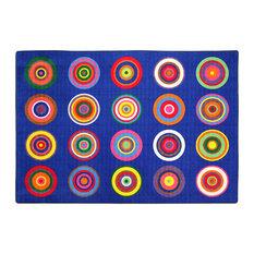 Color Rings Indigo Rug, 7'6x12'