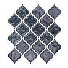 "12""x12"" Glazed Ceramic Arabesque Mosaic Tile, Dark Gray"