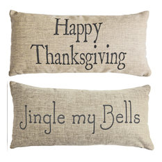 Jingle Bells Holiday Thanksgiving Double Sided Fall Indoor Outdoor Pillow