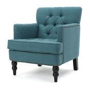 GDF Studio Madene Tufted Back Fabric Club Chair, Teal