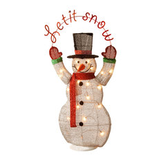 "National Tree Company - Pre-Lit 36"" Tinsel Snowman - Outdoor Holiday Decorations"