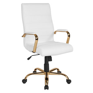 da0bd76c6 Mid-Back Faux Leather Chair With Gold Arms and Base - Contemporary ...