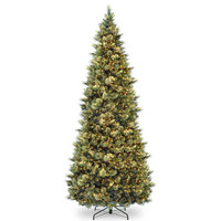 12' Carolina Pine Slim Wrapped Tree With Flocked Cones & Clear Lights
