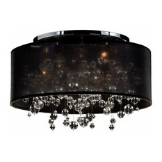 "21""W Drum Shaded Beaded Crystal Flush Mount Silhouette"