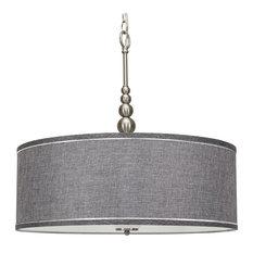 "Kira Home Adelade 22"" 3-Light Modern Chandelier, Glass Diffuser, Brushed Nickel"