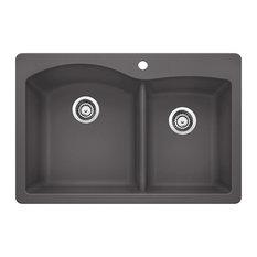 Blanco Diamond Silgranit 1.75 Bowl Kitchen Sink, Cinder